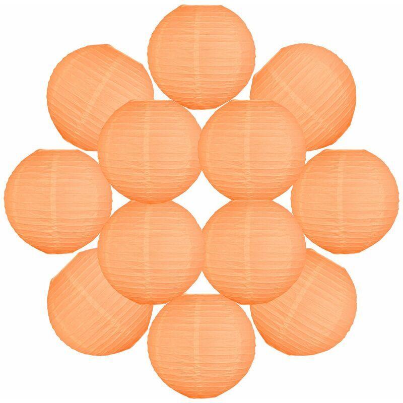 SKYLANTERN 12x Lanterne Papier 30 cm Pêche - Suspension Boule Papier 30 cm (12'') type Lanterne Japonaise pour Decoration Mariage - 12 pièces - Le must de la