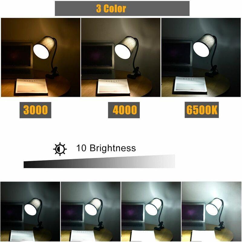 DIYOZZY 7W 5V USB lampe de bureau économie d'énergie sûre 10 luminosité 3 couleurs température mené lumière de travail pour bureau à domicile dortoir 7W 5V