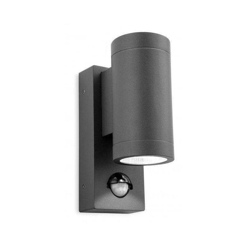 FIRSTLIGHT Applique 2 ampoules Shelby avec détecteur, graphite