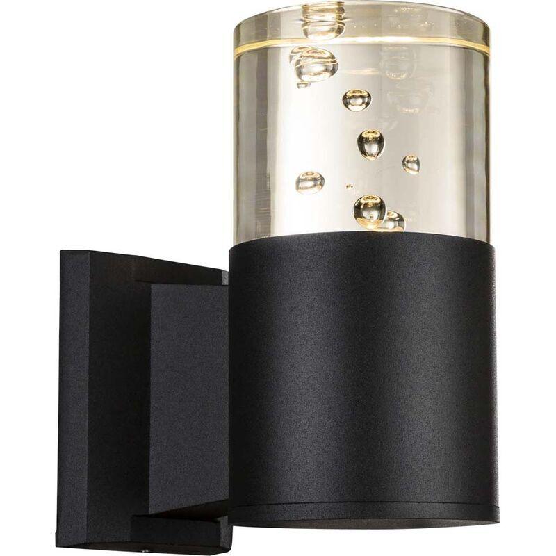 ETC-SHOP Applique murale LED noire applique murale lampe de terrasse bulles d'air spot mural extérieur, 1x LED 4,8W 350lm, DxHxL 9x17,5x15,6 cm