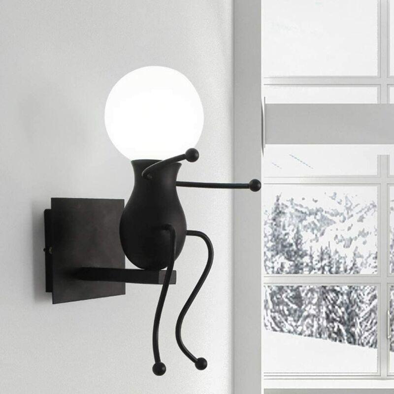 Stoex - Applique Murale Interieur E27 Créatifs Petit Gens Fer Lampe de Mur pour Bar Chambre à Coucher Cuisine Restaurant Café Couloir,Noir