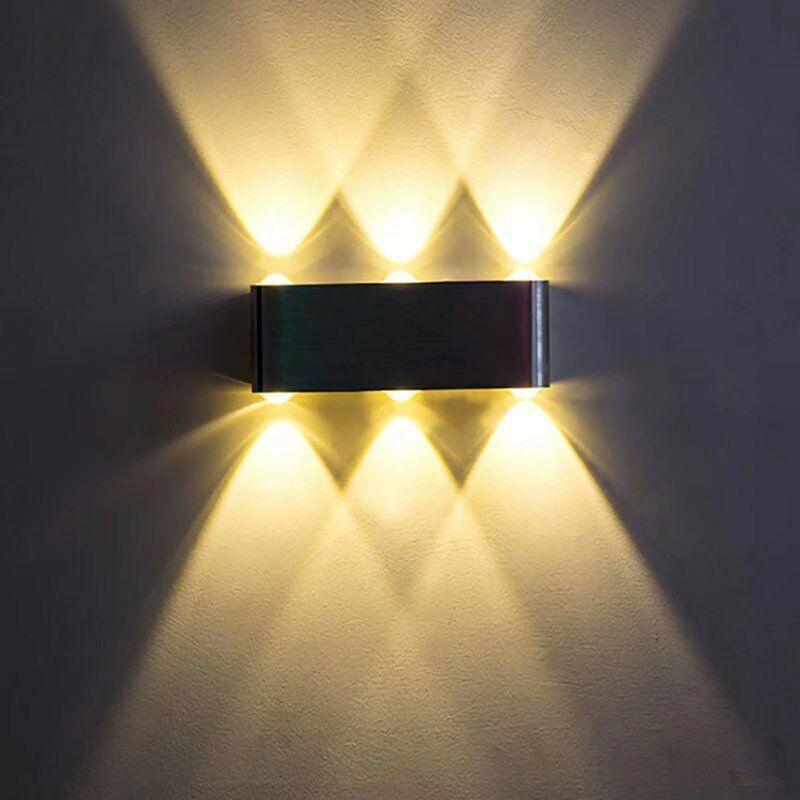 Perle rare Applique murale LED 6W Applique intérieure moderne carré en aluminium supérieur et inférieur, chambre à coucher, bureau, lit, couloir,
