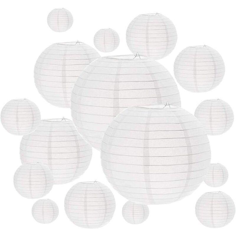 BETTERLIFE BETTE Boule papier japonaise 16 Paquets lampions blancs, tailles assorties, décoratifs en papier, boule chinoise Décorations à suspendre papier