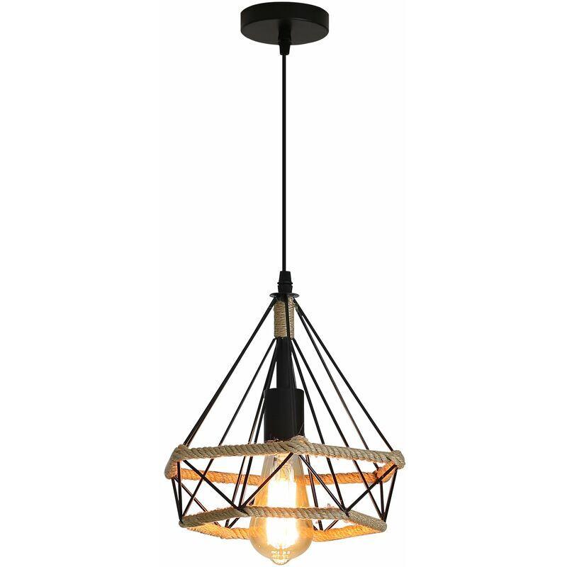 GOECO Corde de chanvre Cage Lampe de Plafond,Lustre Suspension Industrielle 25cm en forme Diamant Corde de Chanvre (1PCS) - Goeco