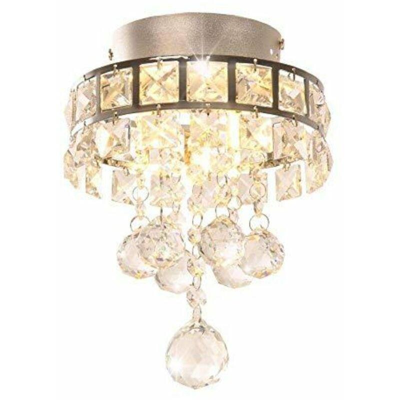 GOECO Lustre en cristal, Mini lampe suspension avec 3 lumières pour couloir, chambre à coucher, cuisine, chambre d'enfant