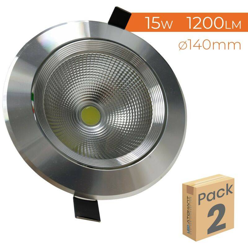 LED ATOMANT SL Downlight LED Circulaire Inox 15W 1200LM Coupe 110mm 6500K   Blanc froid 6500K - Pack 2 pcs. - Blanc froid 6500K