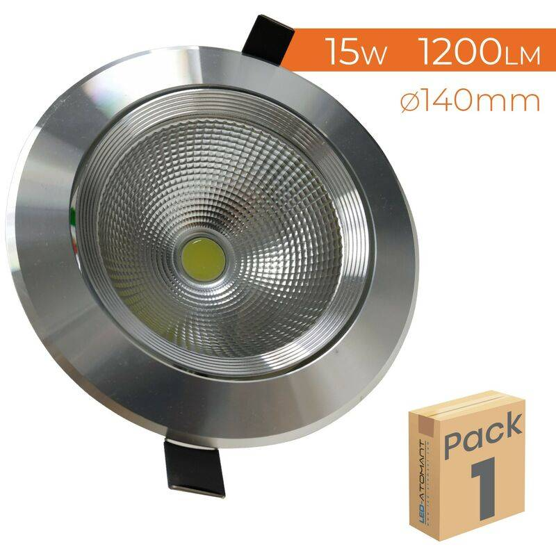 LED ATOMANT SL Downlight LED Circulaire Inox 15W 1200LM Coupe 110mm 6500K   Blanc froid 6500K - Pack 1 pce. - Blanc froid 6500K