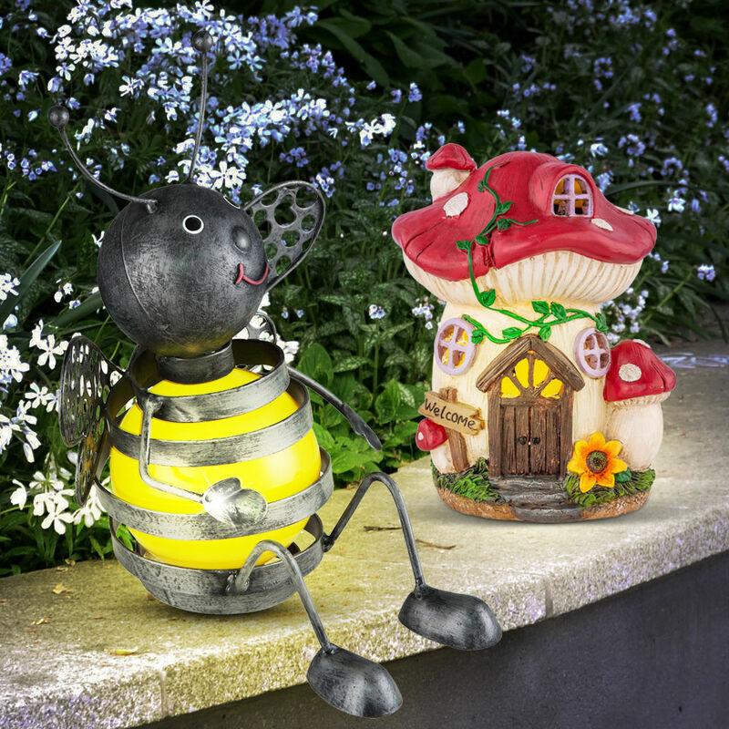 Etc-shop - Figurines solaires pour la décoration extérieure Maison de fées Décoration de jardin Lampe de champignon Figure d'abeille Jardin,