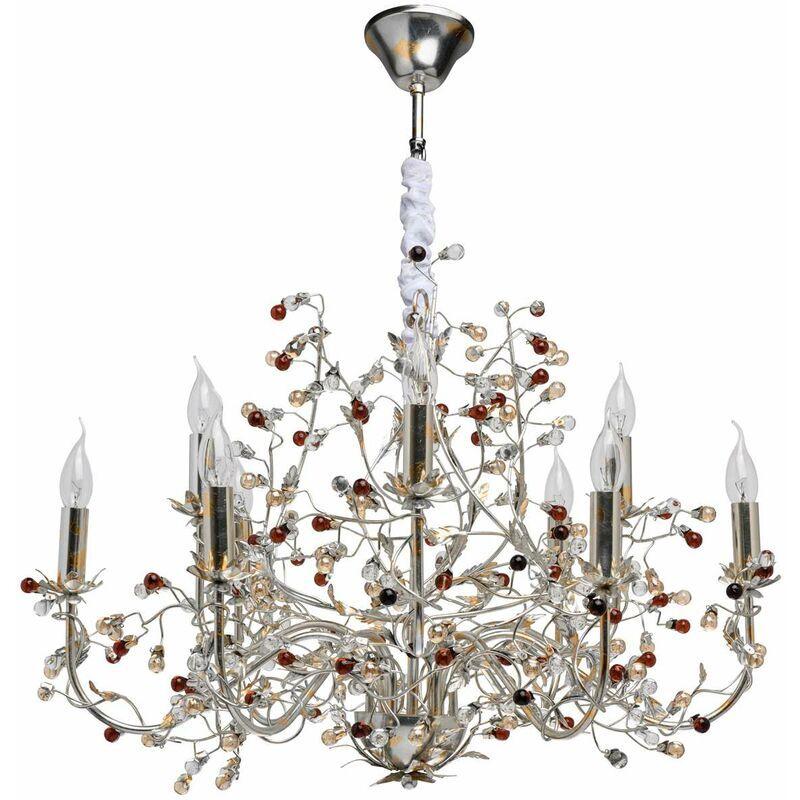 Chiaro - Flora Viola silver foil+gold foi metal transparent+brown+champagne glass 9*40W E14 298013209