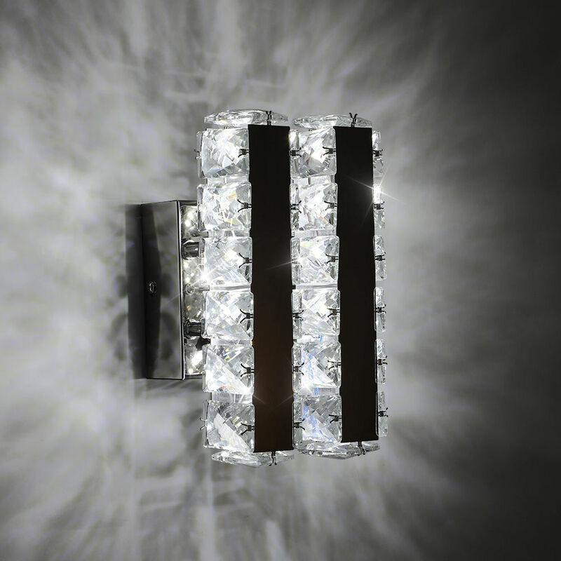 GOECO Applique murale LED en verre K9 16 W moderne pour salon, salle de bain, chambre à coucher, lumière froide 5500 K - Goeco