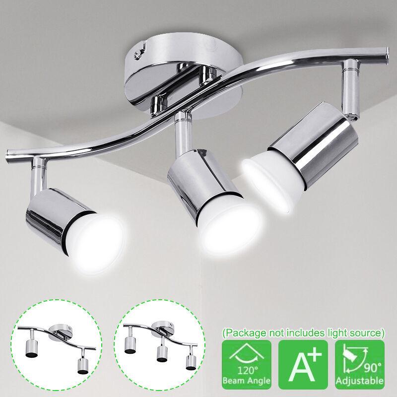 COXOLO GU10 Support Prise Réglable 3 Têtes LED Plafonnier Support Projecteur Bureau à Domicile Lustre Cuisine Chambre Chambre Magasin (Ampoule Non Compris)