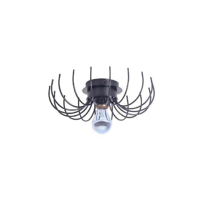 HOMEMANIA Lampe Murale Lion - Applique murale - Salon, Chambre a coucher - Noir en Metal, 32 x 32 x 9 cm, 1 x E27, Max 100W