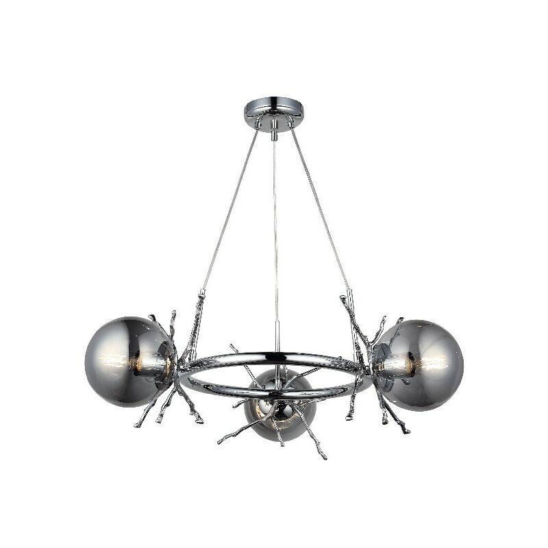 Homemania - Seau a glace Marie - Lustre - Lustre de plafond - Chrome en Metal, Verre, 68 x 68 x 85 cm, 3 x E27, Max 40W