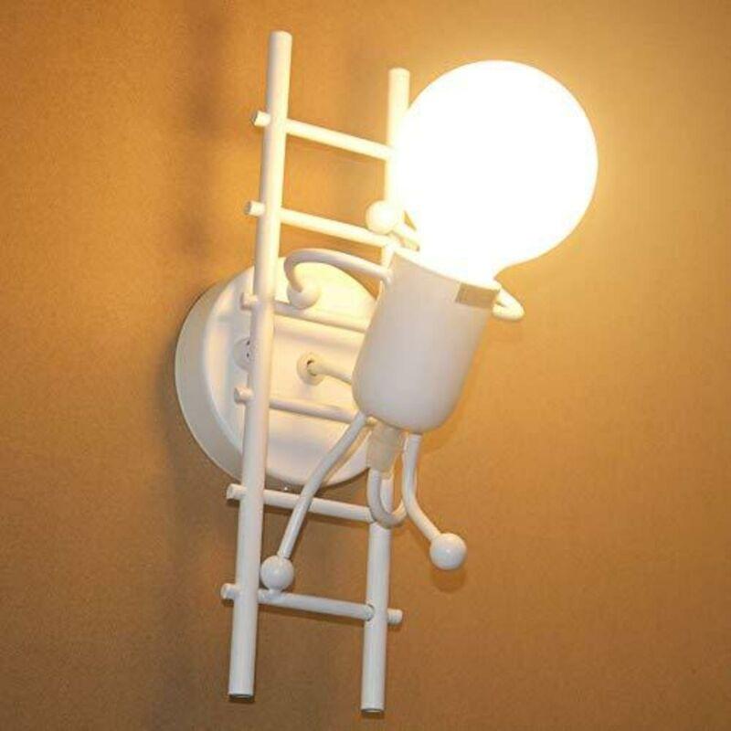 GOECO Humanoïde Créatif Applique Murale Interieur Lampe Murale Moderne Lampe de Mur Art Déco E27 pour Chambre à Coucher, Chambre D'enfants