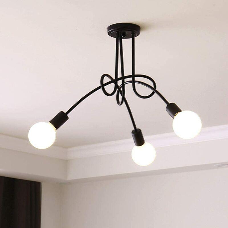 IDEGU 3 Lampes Plafonnier Moderne, Vintage Lustre Lampe de Plafond Luminaire E27 Rétro pour Salon Salle à Manger Chambre Hôtel Décoration D'intérieur,