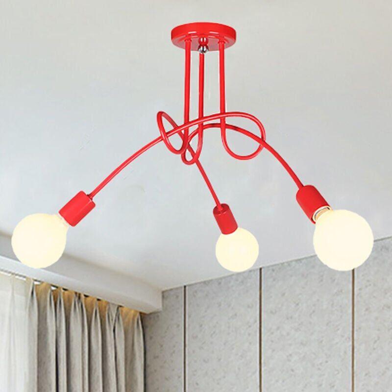 iDEGU 3 Lampes Plafonnier Moderne, Vintage Lustre Lampe de Plafond Luminaire E27 Rétro pour Salon Salle à Manger Chambre Hôtel Décoration