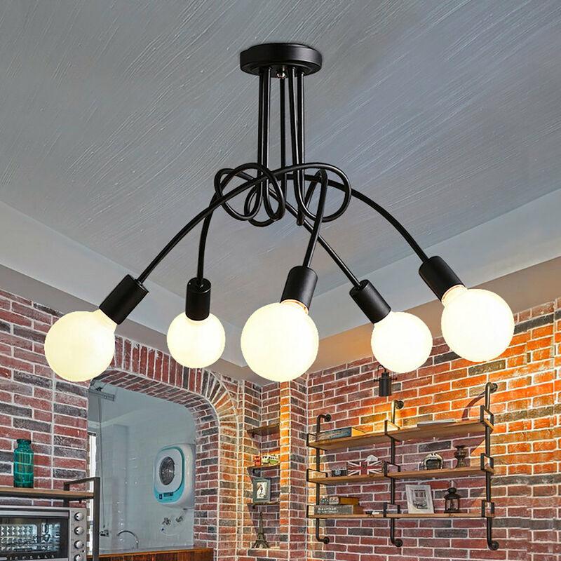 IDEGU 5 Lampes Plafonnier Moderne, Vintage Lustre Lampe de Plafond Luminaire E27 Rétro pour Salon Salle à Manger Chambre Hôtel Décoration D'intérieur,