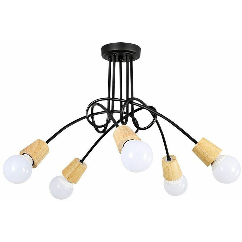 IDEGU 5 Lampes Plafonnier Moderne,Vintage Lustre Lampe de Plafond Luminaire Douille E27 Bois Rétro pour Salon Salle à Manger Chambre Hôtel Décoration