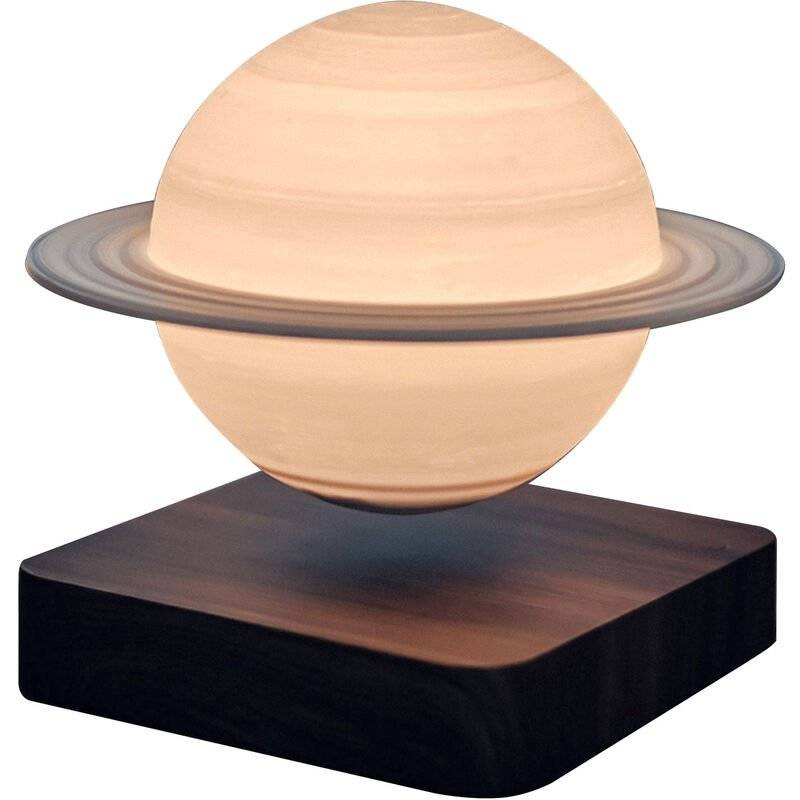 Asupermall - Impression 3D Levitation Saturn Lampe Veine Du Bois De Base Sans Fil A Induction Veilleuse Decoration,Couleur De Grain De Bois Fonce