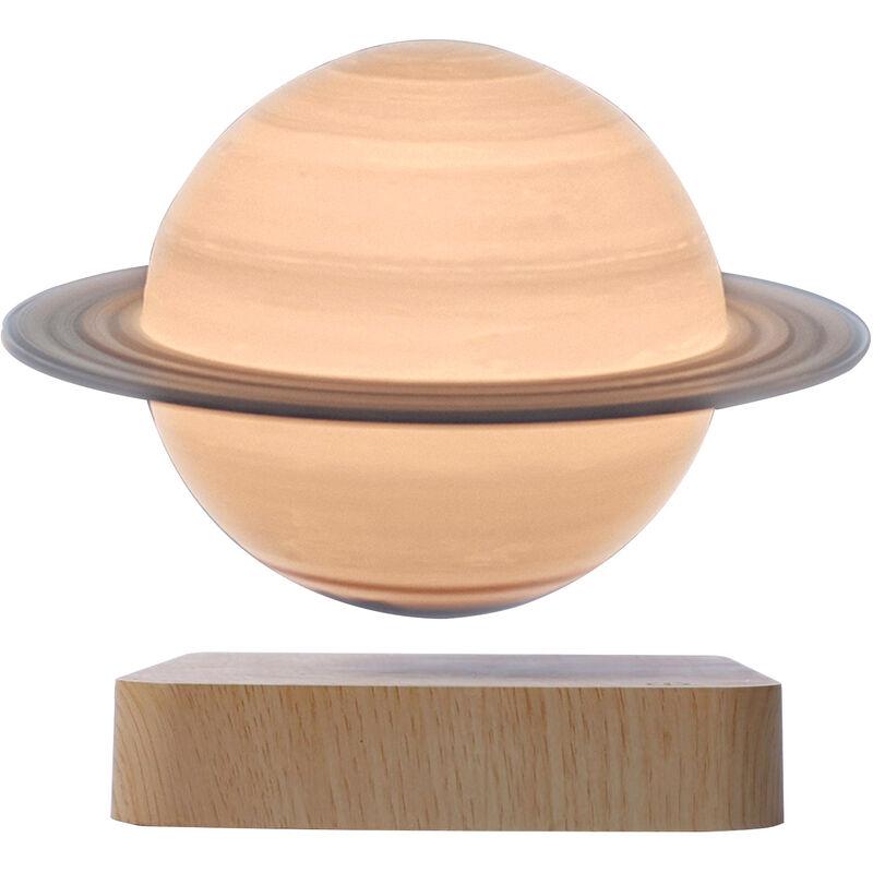 Asupermall - Impression 3D Levitation Saturn Lampe Veine Du Bois De Base Sans Fil A Induction Veilleuse Decoration,Couleur De Grain De Bois Clair