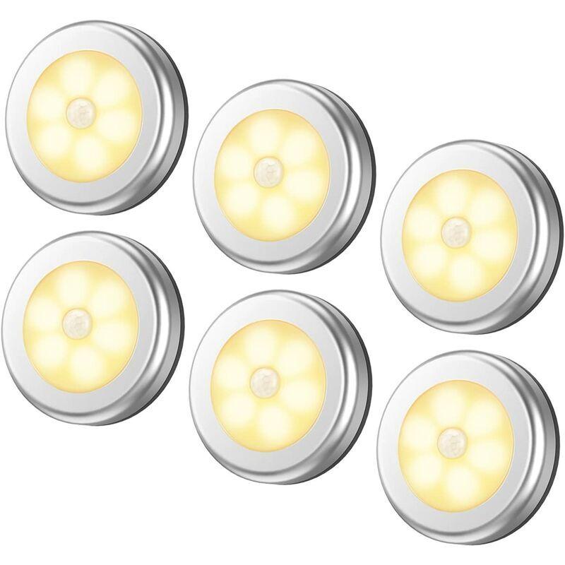 BRIDAY Lampe à détecteur de mouvement améliorée, veilleuse à DEL sans fil alimentée par batterie, lumières de placard à coller partout, lumières d'escalier,
