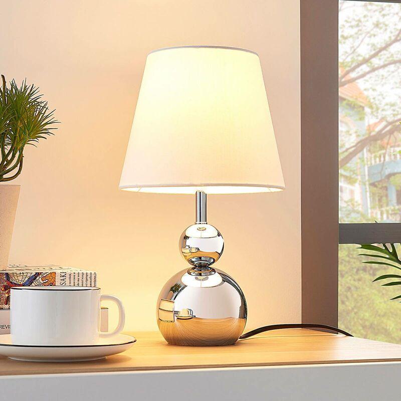 Lindby - Lampe à poser (Avec variateur d'intensité tactile) à intensité variable 'Andor' en textile pour chambre à coucher