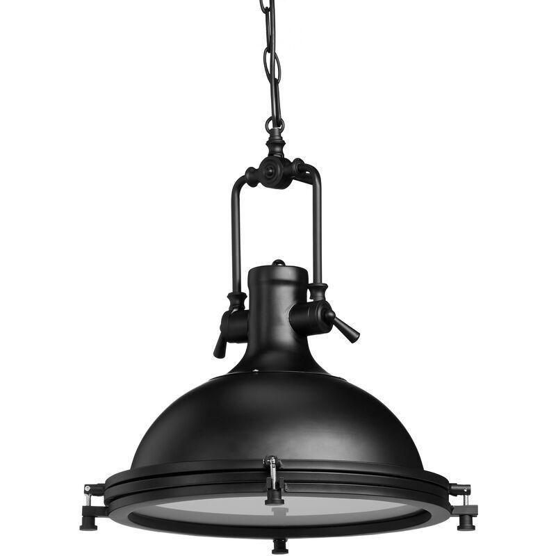RELAXDAYS Lampe à suspension style industriel fer verre opale, Luminaire plafond abat-jour rond, verre de lait, noir