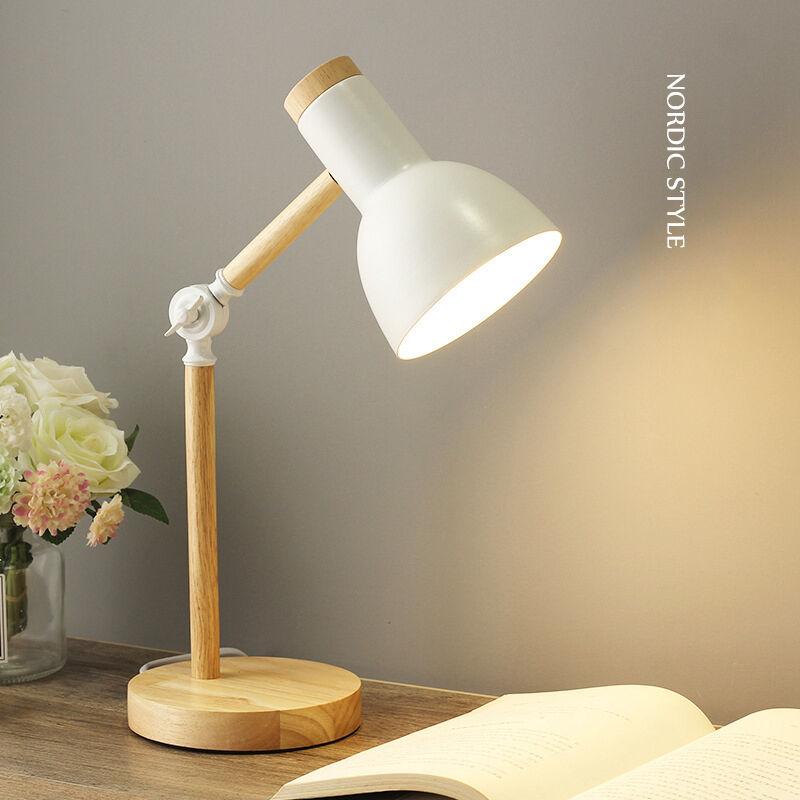 BRIDAY Lampe de bureau en bois style nordique créatif, lampe de Table en fer pliable, Protection des yeux, lampe de lecture pour salon chambre à coucher,