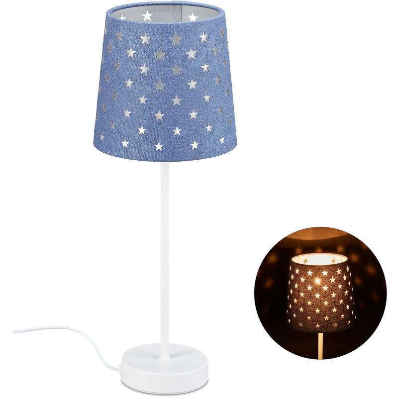 RELAXDAYS Lampe de chevet enfants, veilleuse filles, E14 étoile, en métal, tissu, HD 43x16 cm, bleu