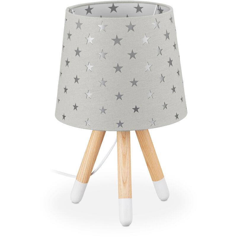 RELAXDAYS Lampe de chevet enfants, veilleuse pour garçons et filles, E14, étoiles, HD 39x25 cm, gris
