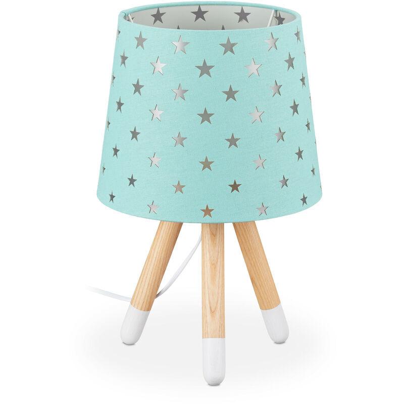 RELAXDAYS Lampe de chevet enfants, veilleuse pour garçons et filles, E14, étoiles, HD 39x25 cm, menthe