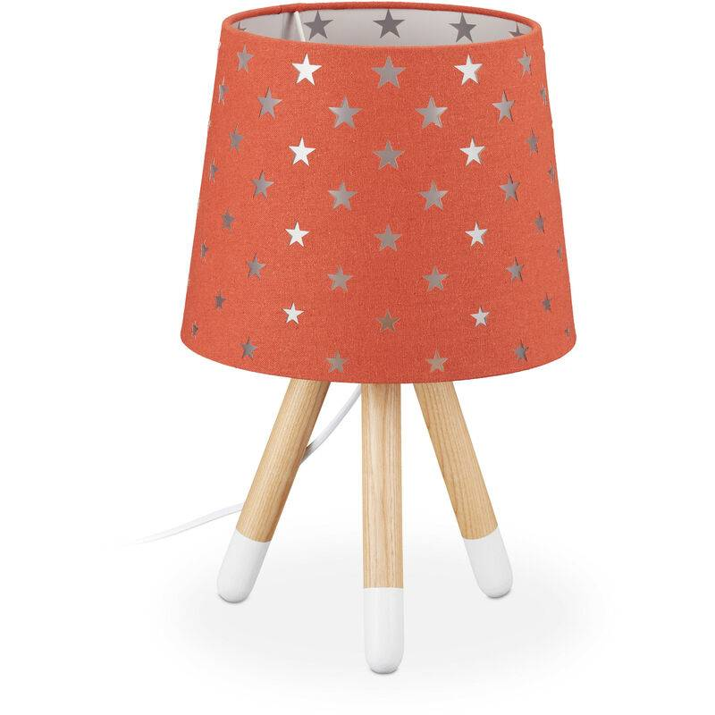 RELAXDAYS Lampe de chevet enfants, veilleuse pour garçons et filles, E14, étoiles, HD 39x25 cm, rouge