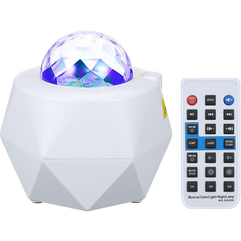 ASUPERMALL Lampe De Projecteur De Ciel Etoile De Musique Bluetooth Avec Telecommande, 10 Niveaux De Luminosite Et Plusieurs Modes D'Eclairage, Blanc