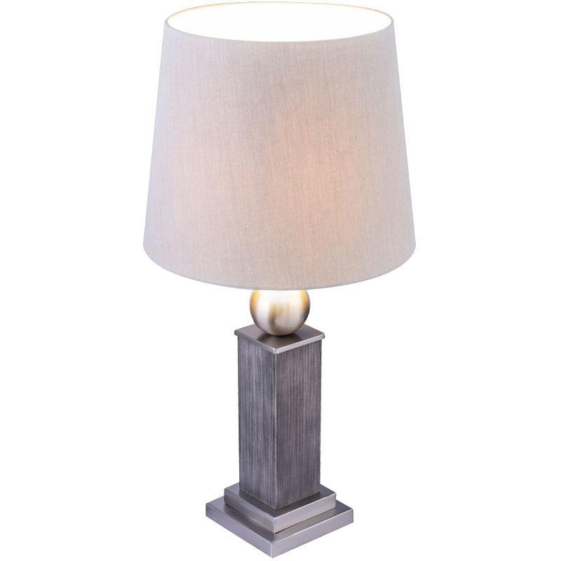 ETC-SHOP Lampe de table design en bois gris salon / chambre à coucher liseuse textile dans un ensemble comprenant des ampoules LED