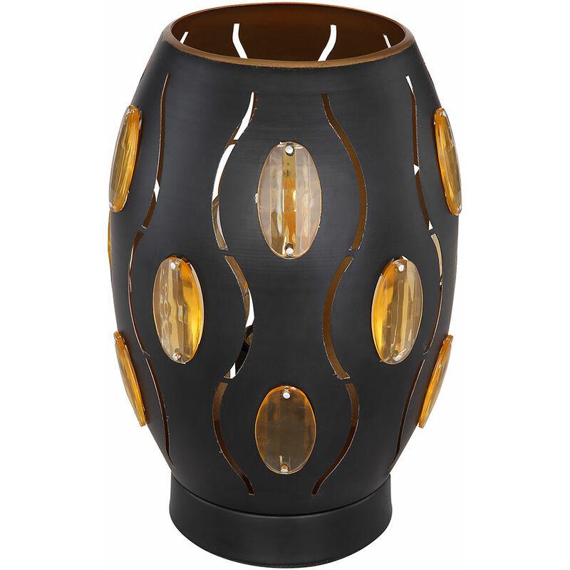 ETC-SHOP Lampe de chevet en cristal BLACK GOLD Lampe de lecture côté salon / chambre à coucher dans un ensemble comprenant des ampoules LED