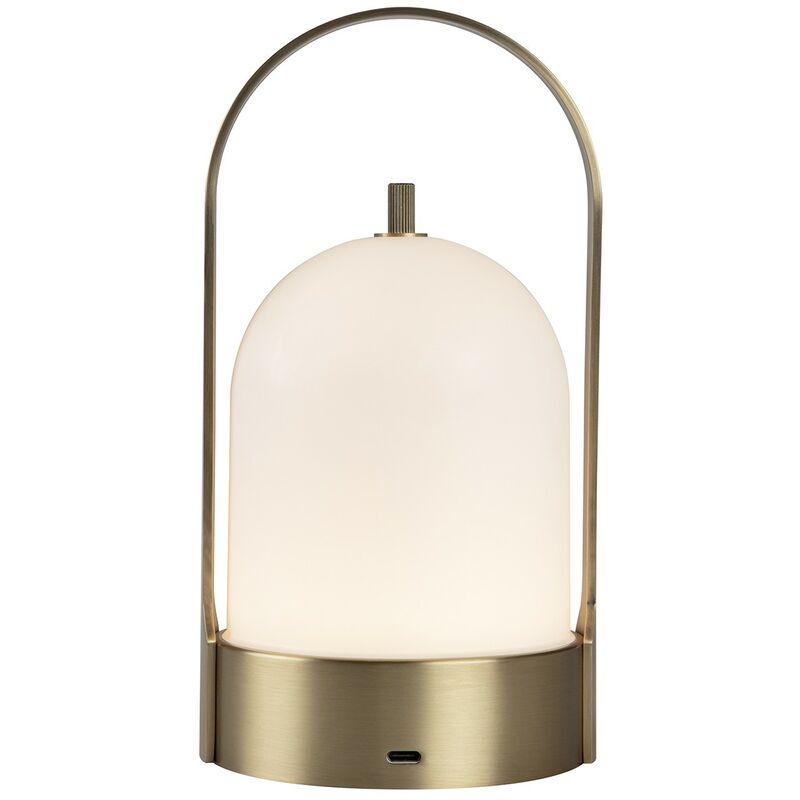 Greaden - Lampe de Table & Portable DAWN, Lampe baladeuse/Nomade Lanterne Luminaire Design Unique Tactile Doré 2W 3000K D114*220, 3 Modes d'éclairage