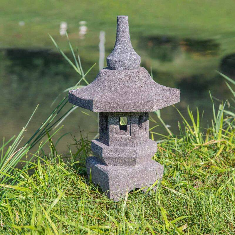 WANDA COLLECTION Lampe japonaise toro jardin zen en pierre de lave 50cm