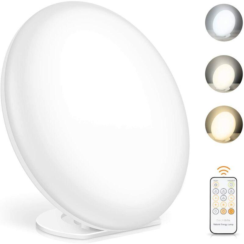 Soekavia - Lampe lumière du jour, lampe de luminothérapie avec fonction mémoire, 3 couleurs de lumière et 5 intensités lumineuses réglables, lampe à