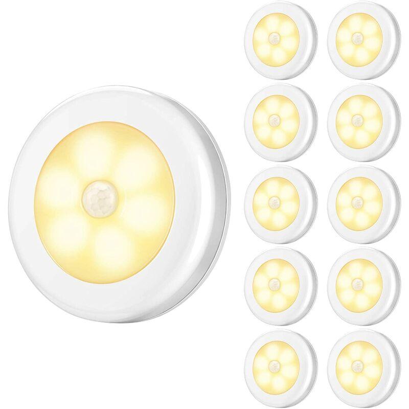 BRIDAY Lampes à détecteur de mouvement améliorées, veilleuses à DEL alimentées par batterie, lampes de placard à coller partout, lampes d'escalier,