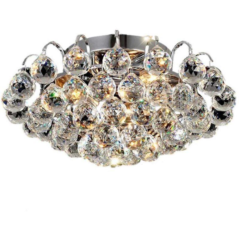 STOEX LED Plafonnier en Cristal Chrome, Moderne Luxe Lustre Lampe de Plafond Éclairage Design E14 pour Chambre à Coucher, Couloir, Salon - Transparent