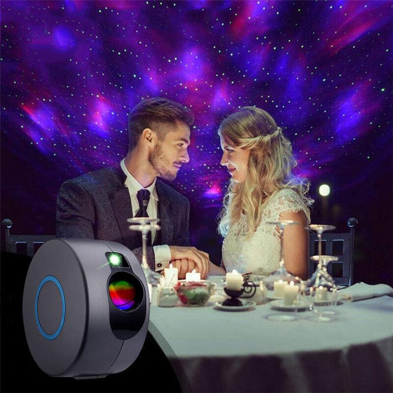 Dontodent - LED Projecteur étoile, Projecteur ciel Étoile, 3D Veilleuse Projecteur avec Télécommandées, 360° Rotatif/7 Couleur/Effet Aurora,