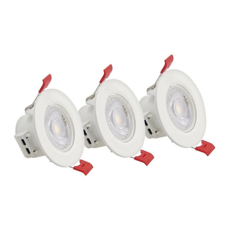 XANLITE Lot de 3 Spots Encastrable LED Intégrés - Orientable - cons. 4.5W (eq. 50W) - 345 lumens - Blanc chaud - PACK3SEL345 - Xanlite