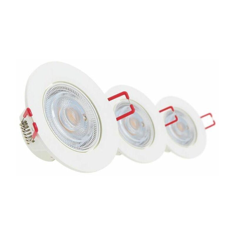 XANLITE Lot de 3 Spots Encastrable LED Intégrés - Dimmable et Orientable - cons. 5W (eq. 50W) - 345 lumens - Blanc neutre - PACK3SEL345CWD - Xanlite
