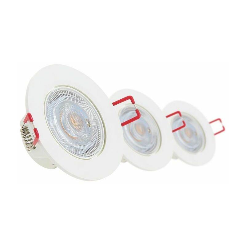 XANLITE Lot de 3 Spots Encastrable LED Intégrés - Dimmable et Orientable - cons. 5W (eq. 50W) - 345 lumens - Blanc chaud - PACK3SEL345D - Xanlite