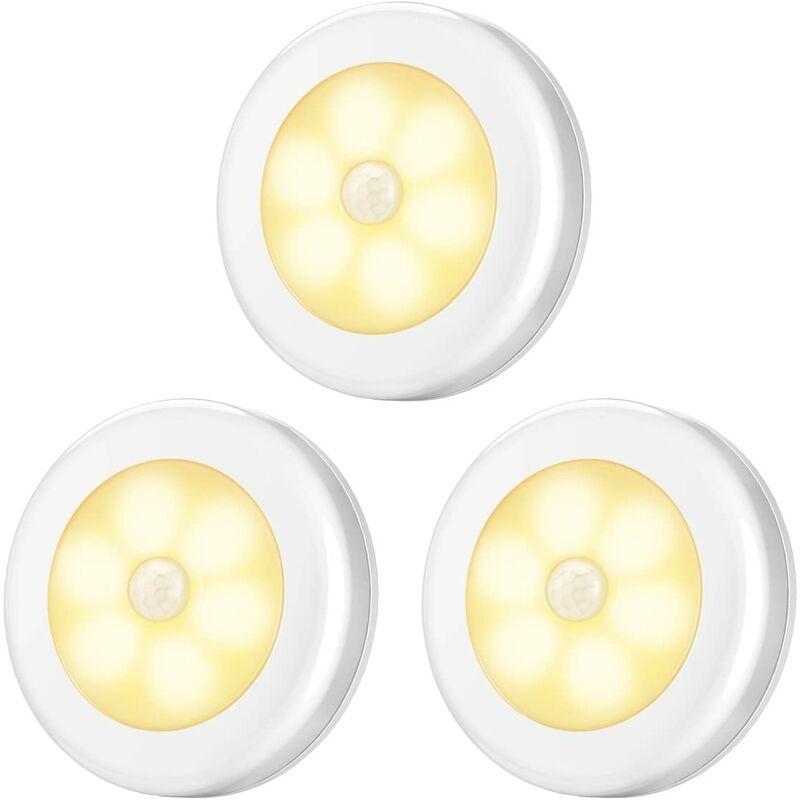 BARES Lumière de détecteur de Mouvement, veilleuses à détecteur à Del, (3 pièces, Blanc Chaud)