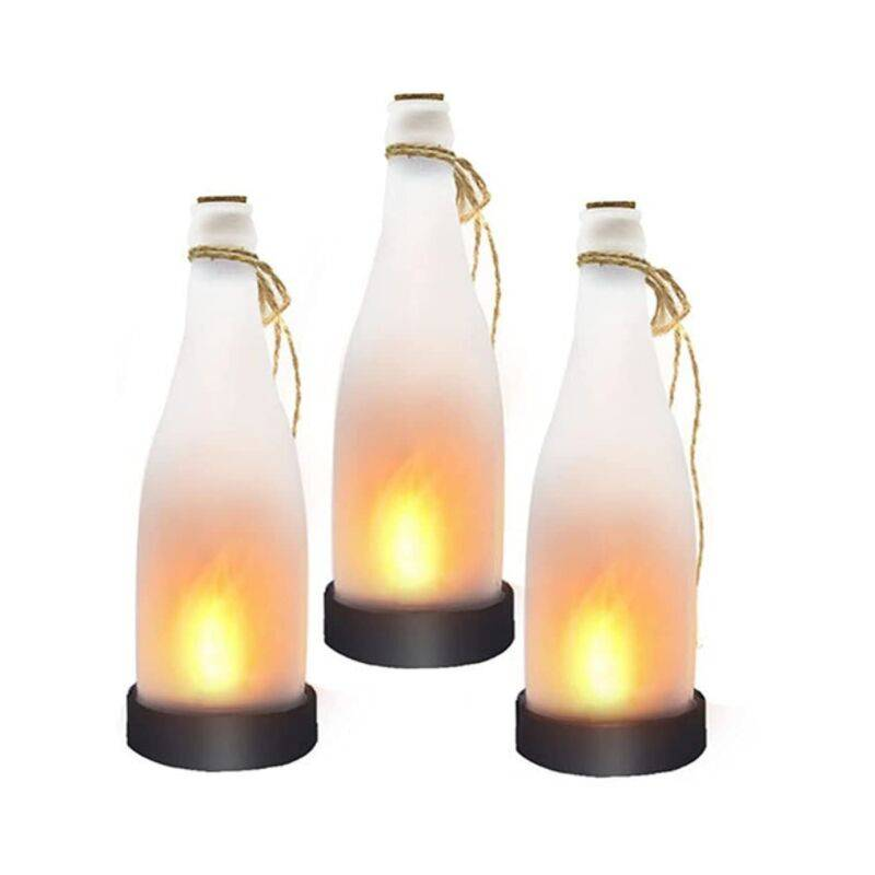 GROOFOO Flamme de la Bouteille de bière Solaire, Arbre à économie d'énergie en Plein air LED GrooFoo (3 pièces)