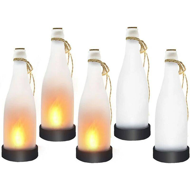GROOFOO Flamme de la Bouteille de bière Solaire, Arbre à économie d'énergie en Plein air LED GrooFoo (5 pièces)