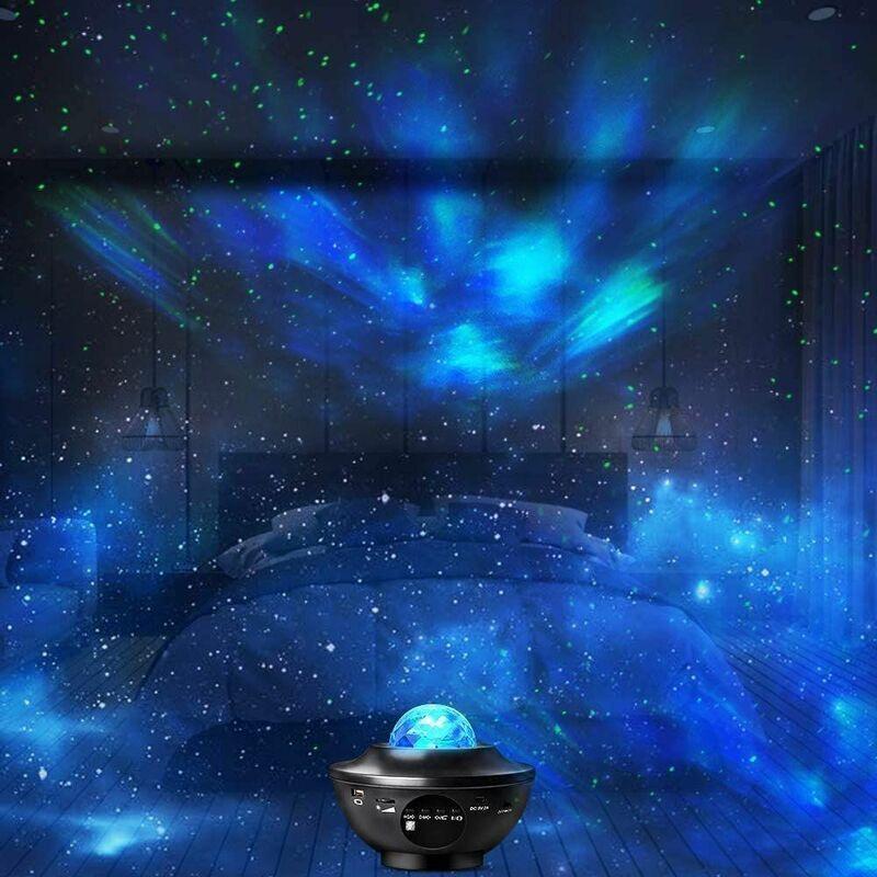 ZHUOXUAN Lumière de projecteur d'étoile de LED, simulation de nuage de lumière de projecteur de bluetooth 12 types de modes de musique.