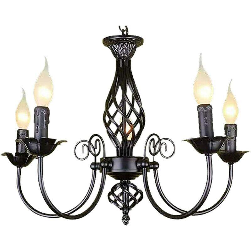 ETOILE Lustre vintage à 5 ampoules pour chambre à coucher - Noir - Métal - Suspension - Pour salon, chambre à coucher
