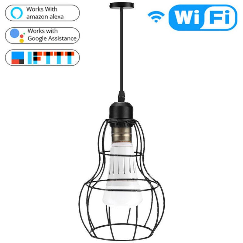 Asupermall - Lustre Wifi Ampoule Intelligent E27 App Commandable Compatible Avec Amazon Alexa Accueil Google Fer Art Bar Industrial Night Restaurant